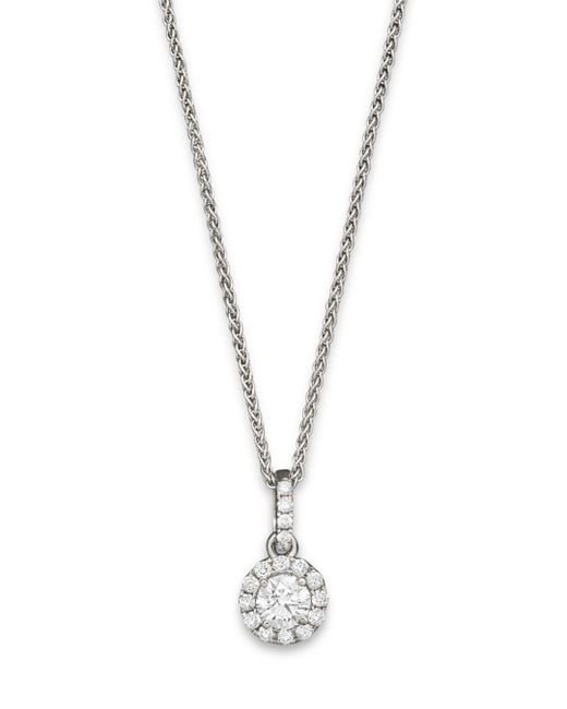 Bloomingdale's - Metallic Halo Diamond Solitaire Pendant Necklace In 14k White Gold, .25 Ct. T.w. - Lyst