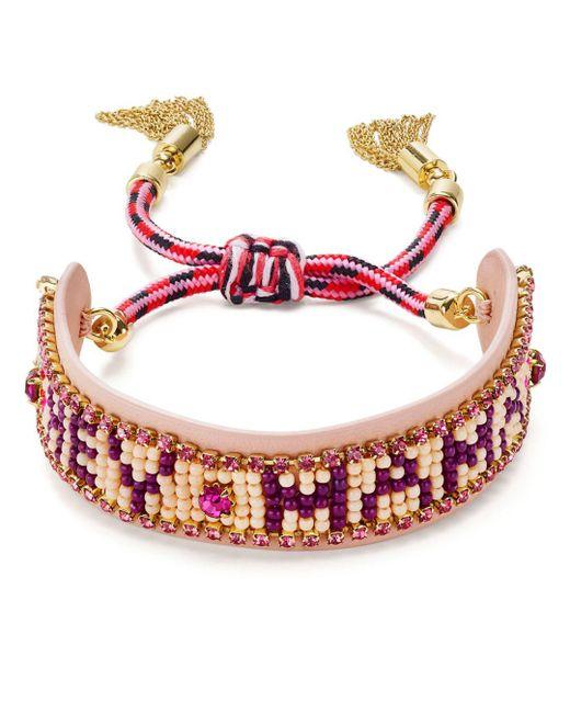 Rebecca Minkoff - Pink Beaded Fringe Cuff Bracelet - Lyst