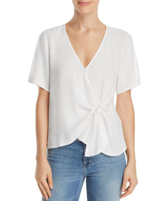Re:named - White Margot Knot-front Wrap Top - Lyst