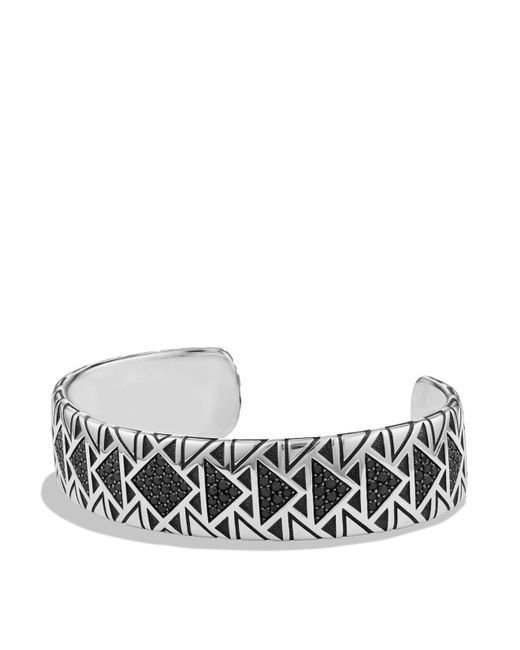 David Yurman | Metallic Frontier Wide Cuff Bracelet With Black Diamonds | Lyst