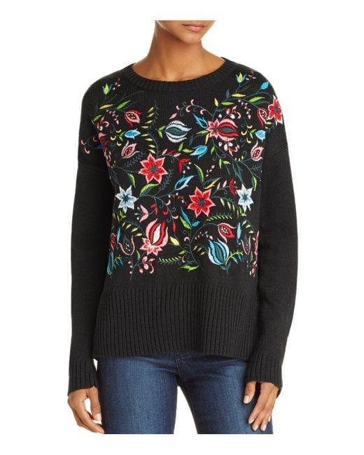 Aqua | Black Embroidered Sweater | Lyst