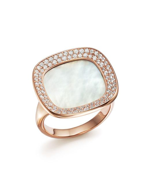 Roberto Coin - Metallic 18k Rose Gold Carnaby Street Diamond And Mother-of-pearl Ring - Lyst