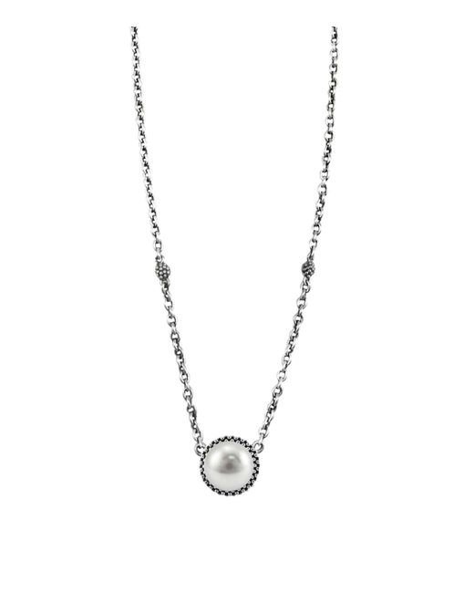 Lagos | Metallic Luna Sterling Silver & Cultured Freshwater Pearl Pendant Necklace, 16"