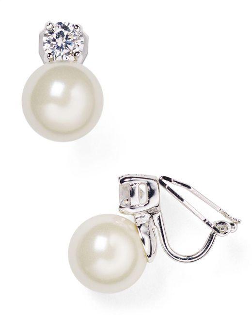 Ralph Lauren - Metallic Lauren Faux Pearl Clip-on Earrings - Lyst