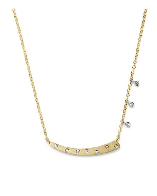 """Meira T   Metallic 14k Yellow Gold Curved Horn Necklace, 16""""   Lyst"""