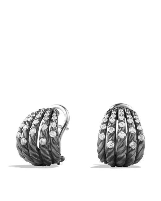 David Yurman - Metallic Tempo Earrings With Diamonds - Lyst