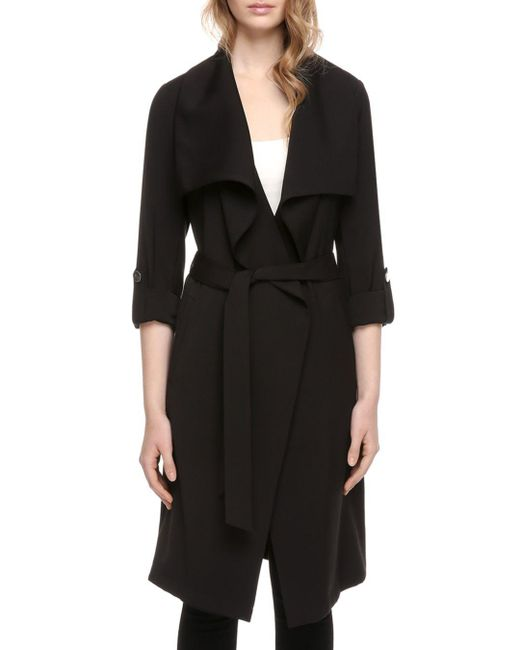 SOIA & KYO - Black Soia And Kyo Ornella Draped Trench Coat - Lyst