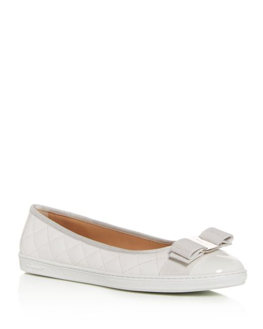 Ferragamo - White Women's Rufina Quilted Cap Toe Leather Sneaker Flats - Lyst