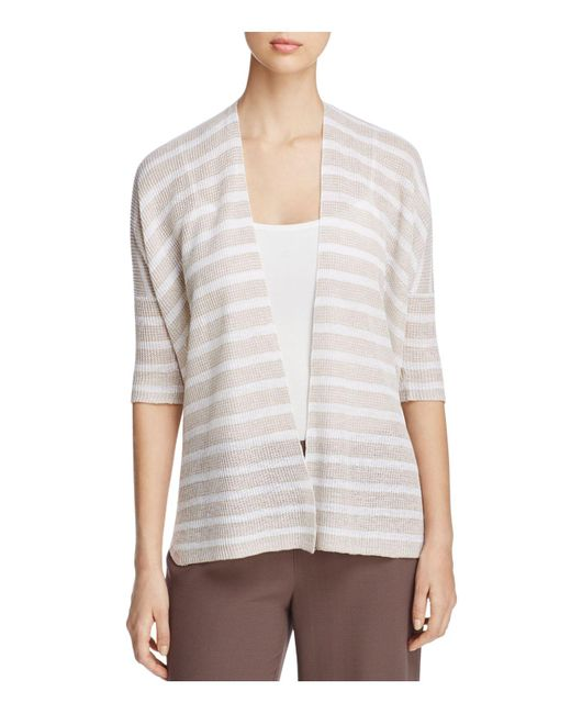 Eileen Fisher | Natural Elbow-sleeve Organic Linen Cardigan | Lyst