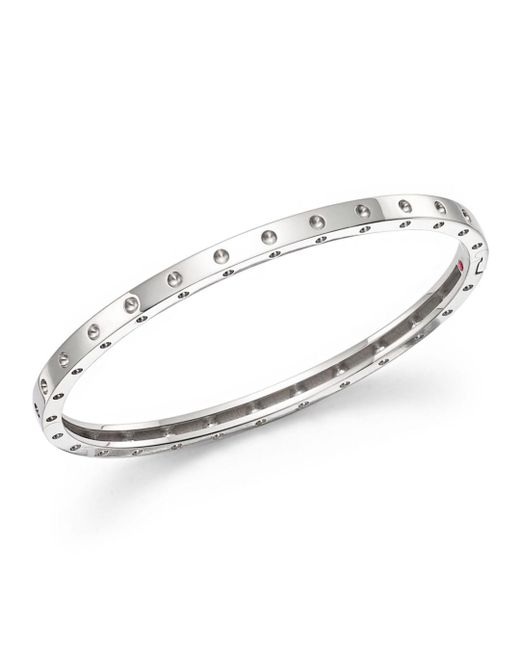 Roberto Coin - Metallic 18k White Gold Symphony Dotted Bangle Bracelet - Lyst
