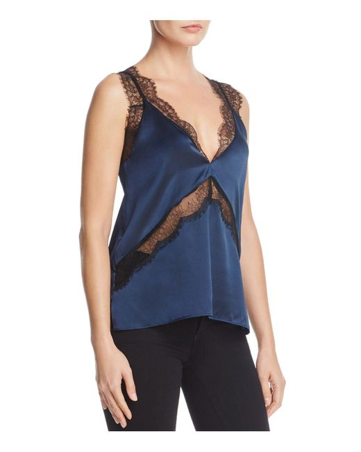 Cami NYC | Blue Josie Lace-inset Silk Top | Lyst