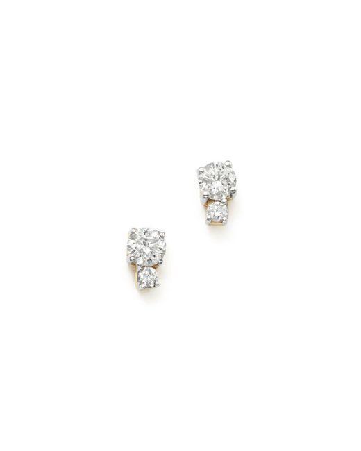 Adina Reyter - Metallic 14k Yellow Gold Amigos Tiny Double Diamond Stud Earrings - Lyst