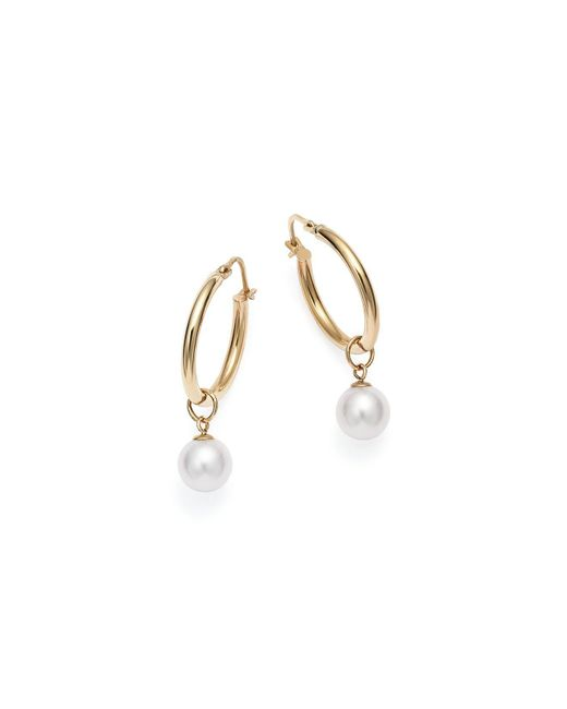 Mateo | Metallic 14k Yellow Gold Pearl Charm Hoop Earrings | Lyst