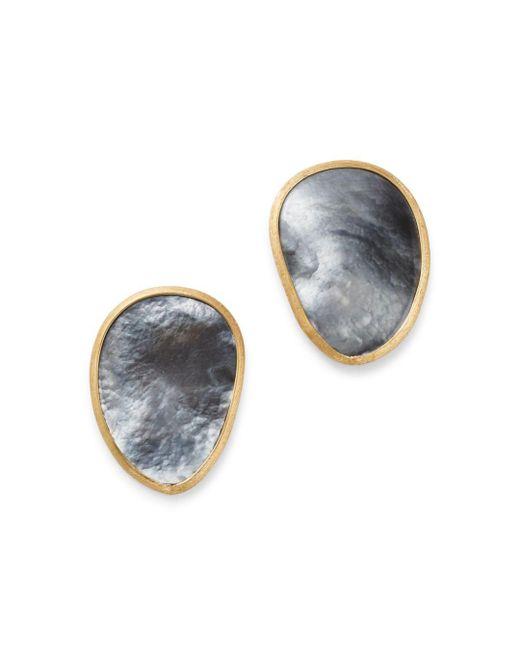 Marco Bicego - Metallic 18k Yellow Gold Lunaria Black Mother Of Pearl Stud Earrings - Lyst