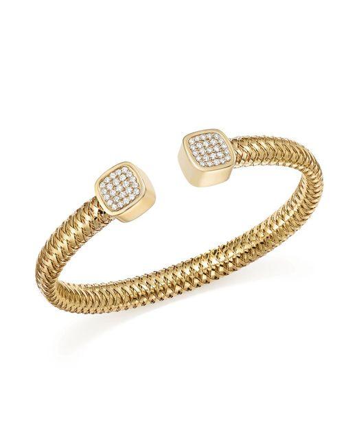 Roberto Coin | Metallic 18k Yellow Gold Primavera Diamond Capped Cuff | Lyst