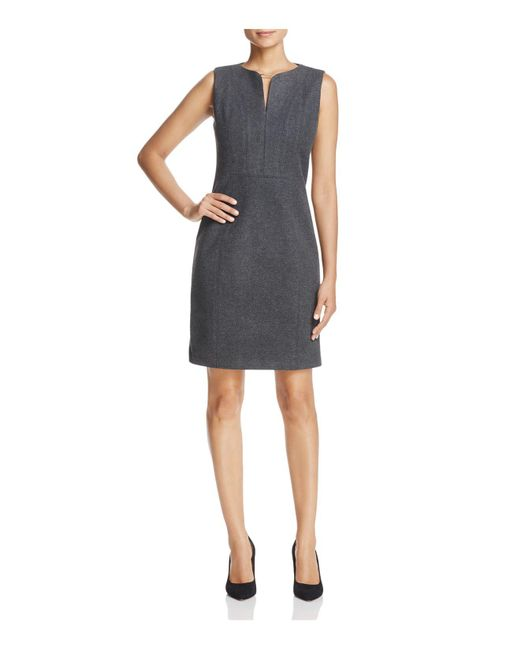 T Tahari | Gray Julia Sleeveless Sheath Dress | Lyst