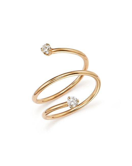 Zoe Chicco | Metallic 14k Yellow Gold Wrap Ring With Diamonds | Lyst
