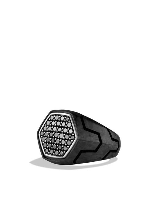 David Yurman | Forged Carbon Signet Ring With Black Diamonds for Men | Lyst