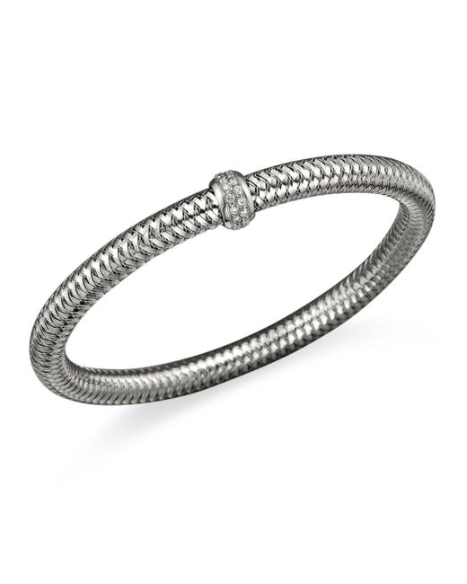 Roberto Coin - Metallic 18k White Gold Primavera Stretch Bracelet With Diamonds - Lyst