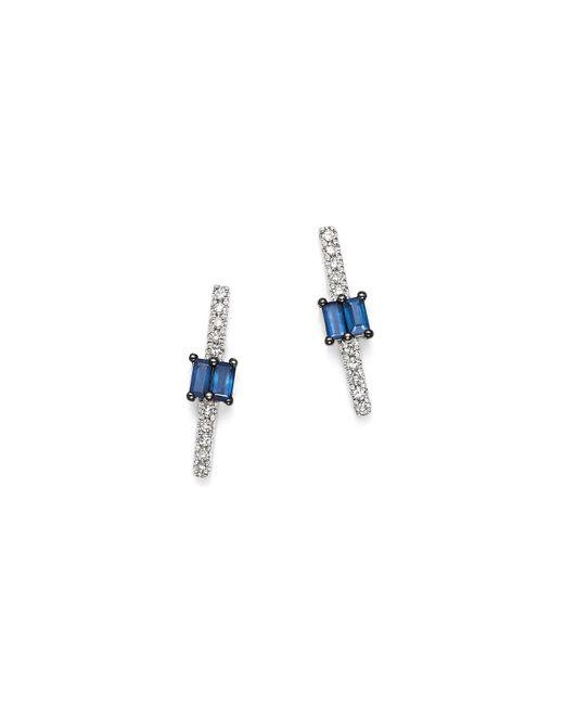 KC Designs | Multicolor 14k White Gold Mosaic Sapphire & Diamond Stud Earrings | Lyst