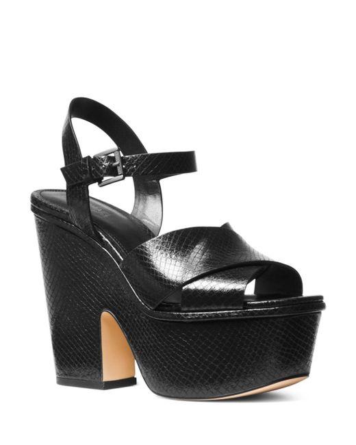 MICHAEL Michael Kors - Black Women's Divia Open-toe Platform Suede Wedge Heel Sandals - Lyst
