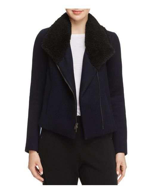 Vince   Black Faux Shearling Collar Double-faced Jacket   Lyst