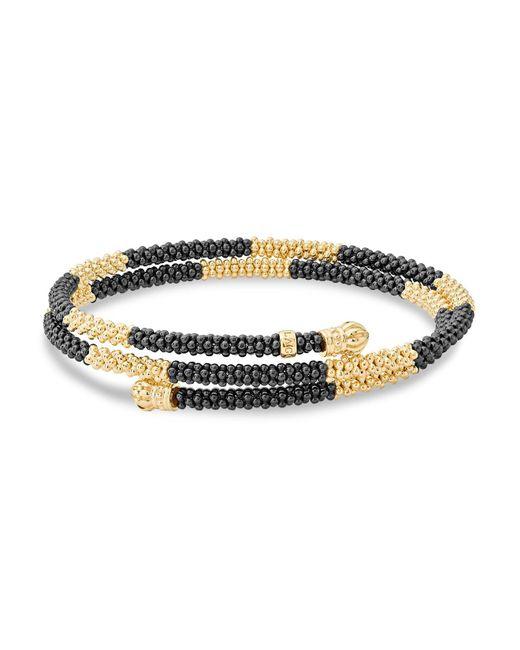 Lagos - Metallic Gold & Black Caviar Coil Bracelet - Lyst