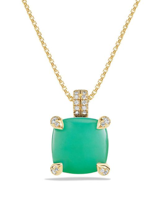 David Yurman - Green Châtelaine Pendant Necklace With Chrysoprase And Diamonds In 18k Gold - Lyst
