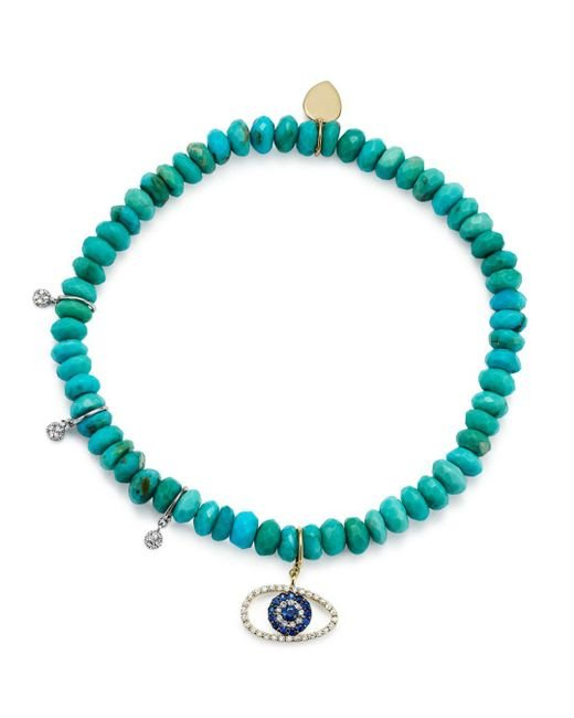 Meira T - Blue 14k White And Yellow Gold Turquoise Beaded Bracelet With Sapphire And Diamond Evil Eye Charm - Lyst