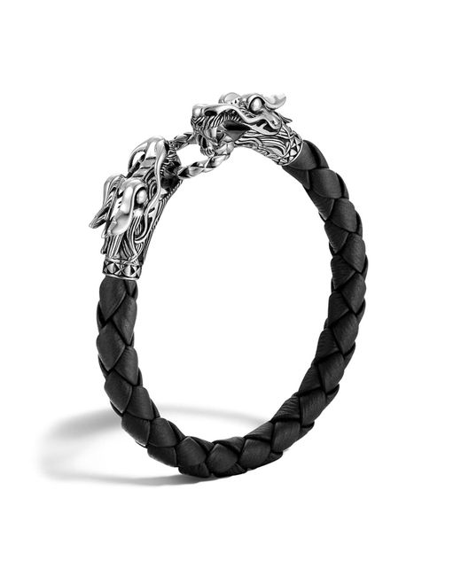 John Hardy | Men's Naga Silver Black Woven Leather Dragon Bracelet | Lyst