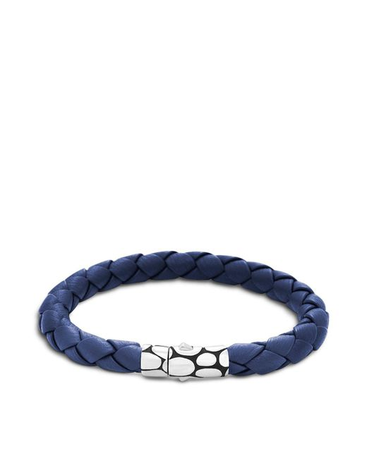 John Hardy | Men's Kali Silver Blue Woven Leather Bracelet for Men | Lyst