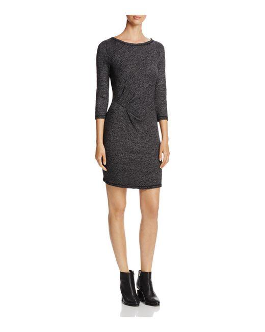 Three Dots | Black Marled Side Cinched Dress | Lyst
