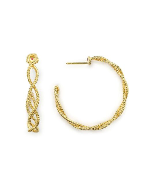 Roberto Coin - Metallic 18k Yellow Gold New Barocco Braided Hoop Earrings With Diamonds - Lyst