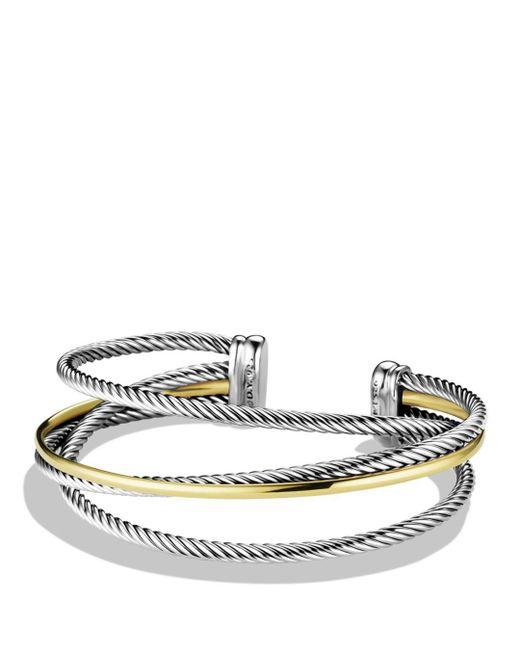 David Yurman - Metallic Crossover Three-row Cuff With Gold - Lyst