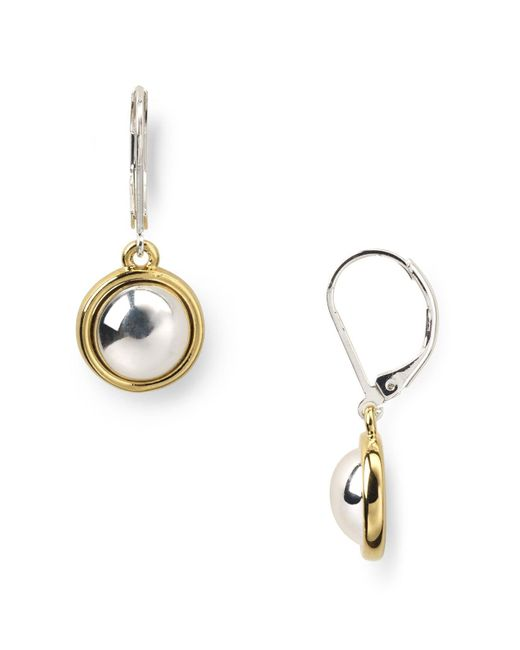 Ralph Lauren | Metallic Lauren Two-tone Button Drop Earrings | Lyst