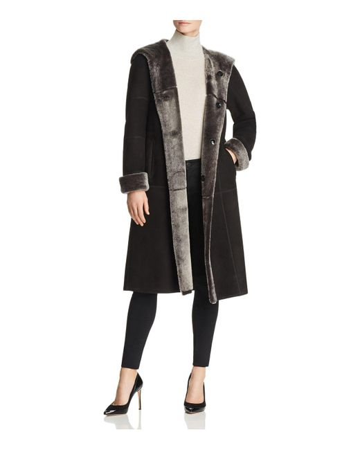 Maximilian - Black Brissa Reversible Lamb Shearling Coat - Lyst