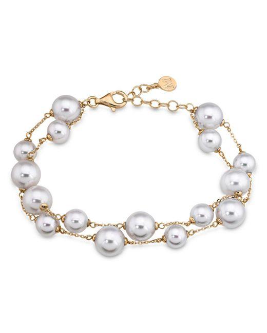 Majorica - Metallic Double Row Simulated Pearl Bracelet - Lyst