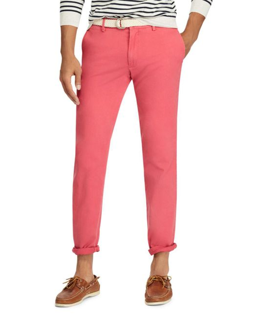 Polo Ralph Lauren - Red Slim Fit Cotton Twill Pant for Men - Lyst