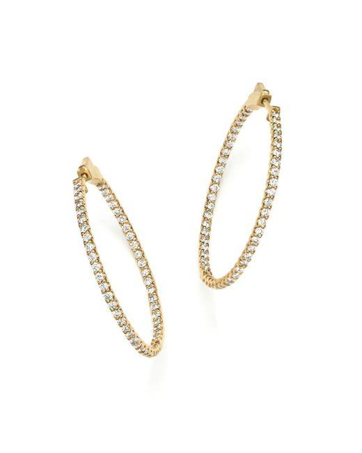 Bloomingdale's - Metallic Diamond Inside Out Hoop Earrings In 14k Yellow Gold - Lyst