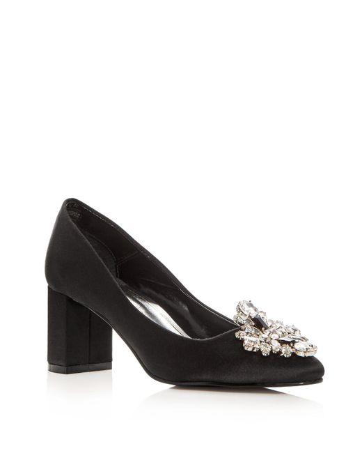 Caparros | Black Women's Jeanette Embellished Satin Block Heel Pumps | Lyst