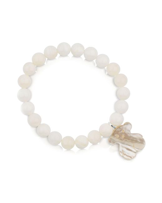 Tous | White Mother-of-pearl Beaded Bracelet With Bear Charm | Lyst