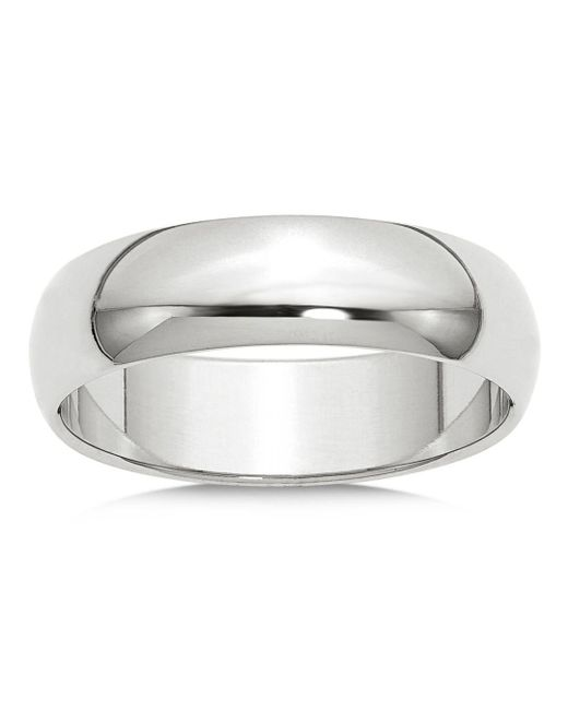 Bloomingdale's - Men's 6mm Half Round Band Ring In 14k White Gold for Men - Lyst