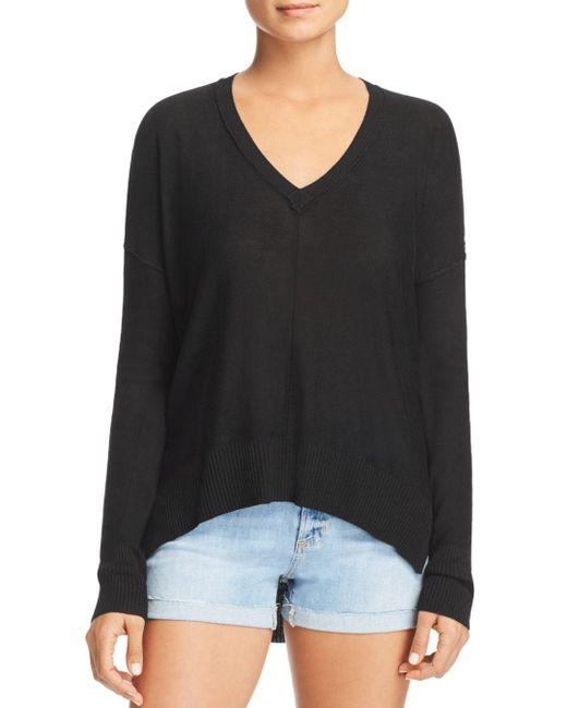 Aqua - Black Seamed High/low Sweater - Lyst