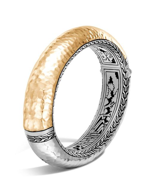 John Hardy - Metallic Sterling Silver And 18k Bonded Gold Classic Chain Hammered Oval Hinged Bangle - Lyst