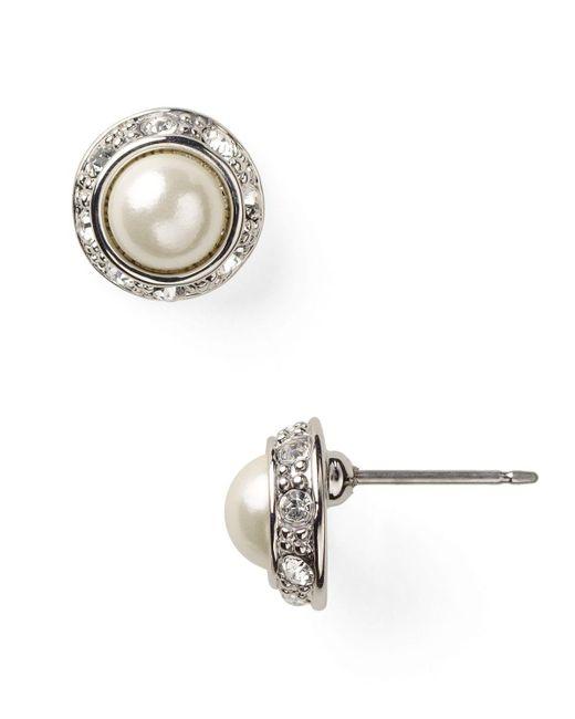 Pink Pony | Metallic Lauren Mini Pearl Cabochon & Pave Bezel Stud Earrings | Lyst