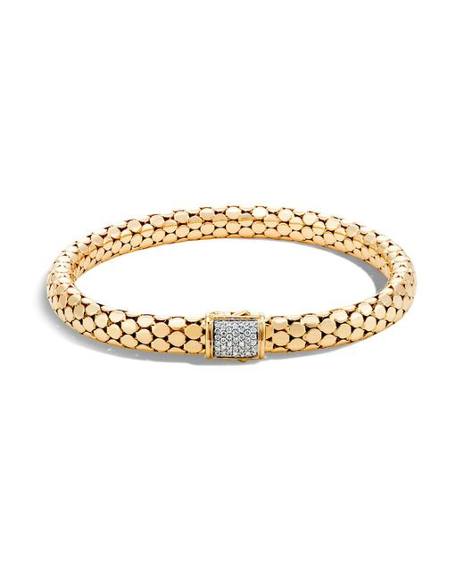 John Hardy | Metallic 18k Yellow Gold Dot Small Chain Bracelet With Diamonds | Lyst