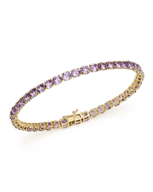 Bloomingdale's - Metallic Amethyst Tennis Bracelet In 14k Yellow Gold - Lyst