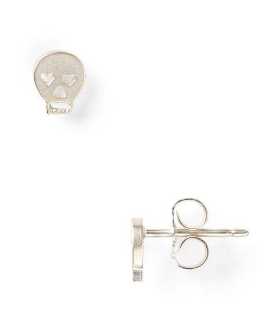 Dogeared | Metallic Little Things Mini Silver Skull Stud Earrings | Lyst