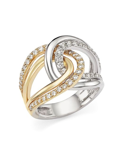 Bloomingdale's - Metallic Diamond Two-tone Crossover Ring In 14k White And Yellow Gold, .65 Ct. T.w. - Lyst