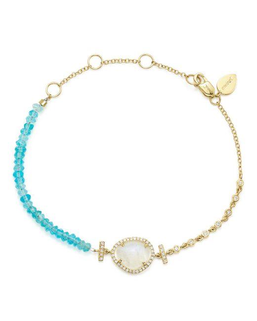 Meira T - Blue Diamond And Neon Apatite Beaded Bracelet - Lyst